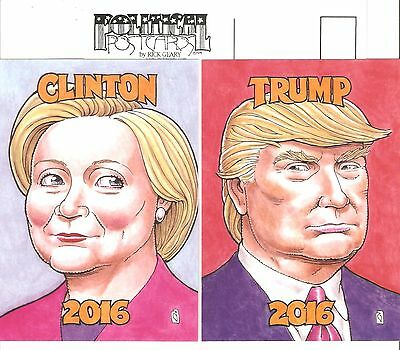 NEW  Donald TRUMP & Hilary CLINTON 2016 pair POSTCARDS by RICK GEARY
