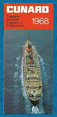1968 Cunard Timetable And Fares Booklet, Queen Elizabeth Etc