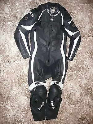 Mens Bks Uk46 Eu56 Black White Silverstone Motorcycle One 1 Piece Leather Suit