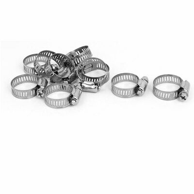 16-25mm Range Adjustable Stainless Steel Pipe Hose Clamp Hoops Fasteners 10pcs