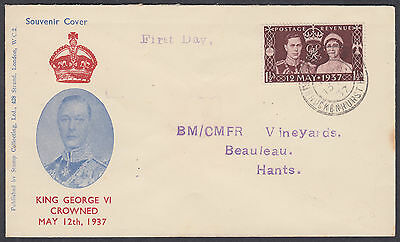 1937 KGVI Coronation FDC 'Stamp Collecting'FDC;+Label:BM/CMFR Vineyards,Beauleau