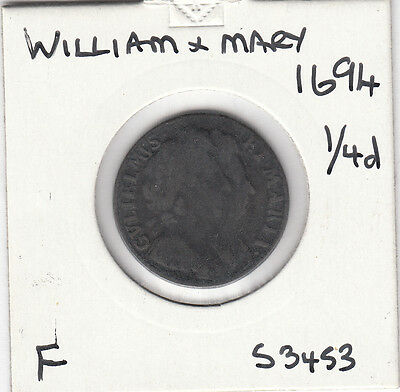 1694 William & Mary Farthing - S3453