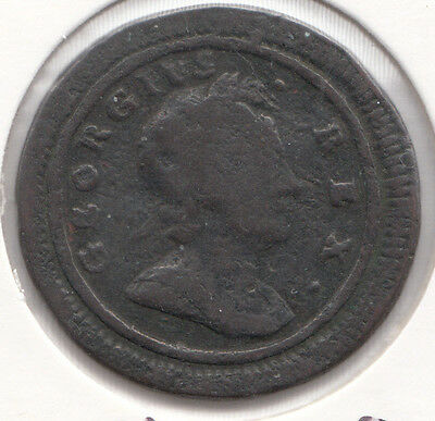 """1721 GEORGE I FARTHING S3662-""""1""""/""""0"""" in date. small obverse letters"""