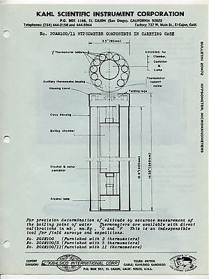 Vintage KAHLSICO Sales Sheet: HYPSOMETER COMPONENTS IN CARRYING CASE