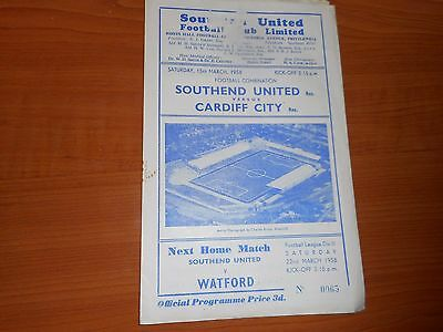SOUTHEND UNITED  reserves  v  CARDIFF CITY  reserves  1957/8  ~ MARCH 15th
