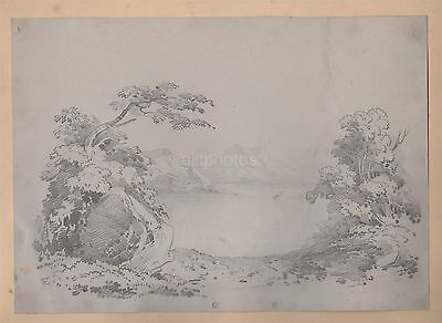 Large Pencil Drawing Of A Lake & Mountains c19th
