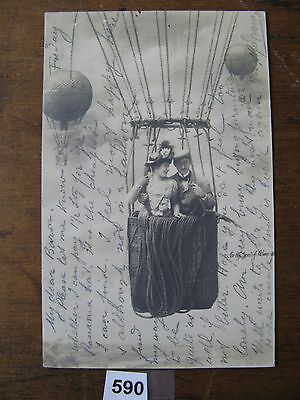 Aviation postcard balloon interest c.1904 used in constantinople 590