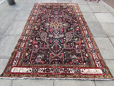 Old Shabby Chic Traditional Hand Made Persian Oriental Wool Blue Rug 290x170cm