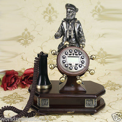 High Grade European Classical Style Solid Wood Antique Ancient Dial Telephone
