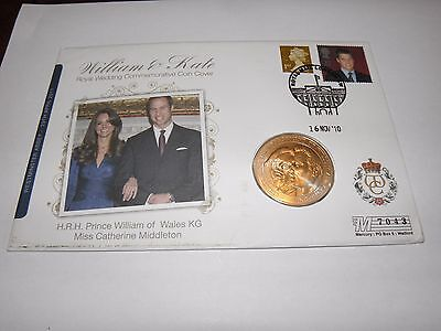 2010 First Day Cover £5 Coin & Stamp William & Kate Royal Wedding Collection
