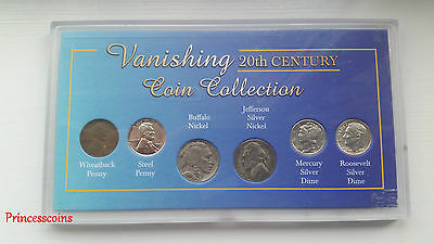 Morgan Mint Vanishing 20Th Century U.s 6 Coins Collection-Penny, Nickel & Dime