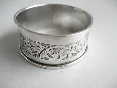 Solid Silver Floral Napkin Serviette Ring Chester 1913