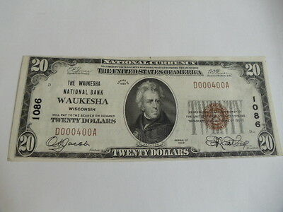 1929 $20 Waukesha Wisconsin National Banknote # 1086 Low Serial Number WI