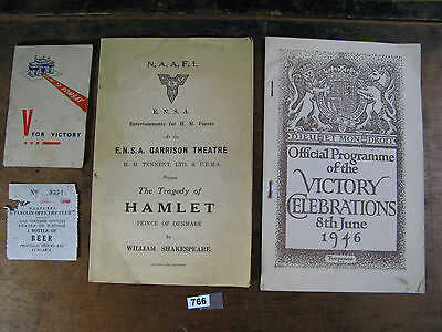 Vintage british military WWII documents naafi v for victory 1946 766