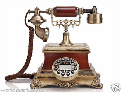 High Grade European RuralStyle Solid Wood Antique Ancient Dial Telephone