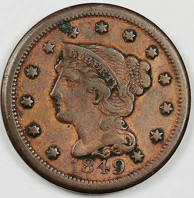 1849 Large Cent.  X.F.