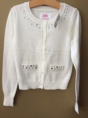 Girls 8 Justice White Cardigan Sweater NEW NWT $29 Clear Gems Rhinestones