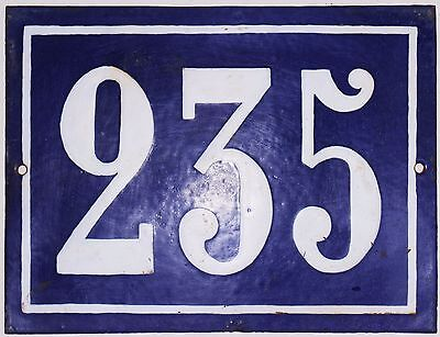 Large old French house number 235 door gate plate plaque enamel steel metal sign