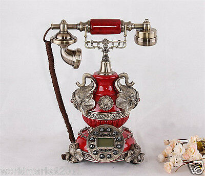 High Grade European Style Creative Red Solid Process Antique Dial Telephone