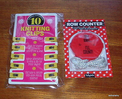 NEW – KNITTING/ CRAFT ACCESSORIES – knitting clips + row counter