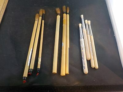 chinese calligraphy brushes painting lot of 10 paint #513 grumbacher