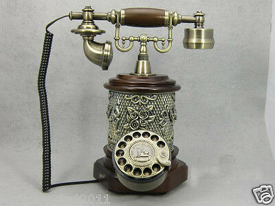 New European Style solid wood + craft resin retro Antique Telephone