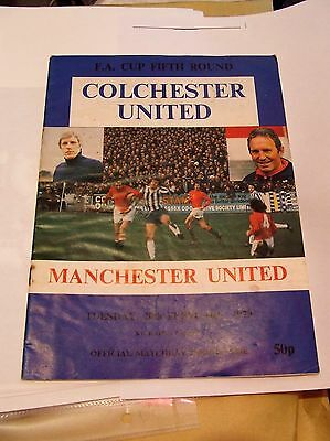 colchester united vs chelsea F.A. cup fifth round 1979 football programme