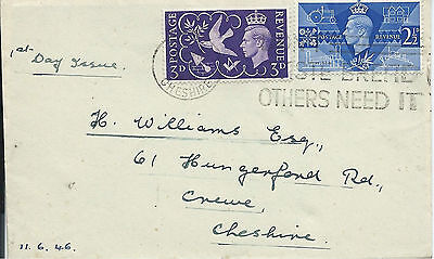 GB 1946 Victory Set (2) on Cover with Don't Waste Bread Slogan FDI at Crewe