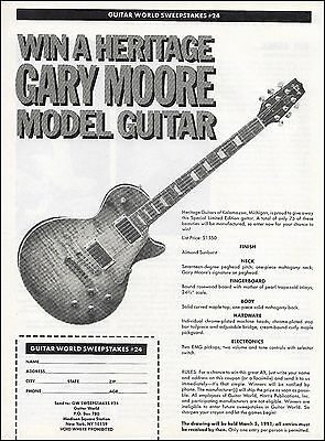 Gary Moore Signature Heritage guitar 1991 contest giveaway 8 x 11 entry form ad