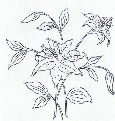 Lily Flowers ~ Iron-on Embroidery Transfer Pattern 10