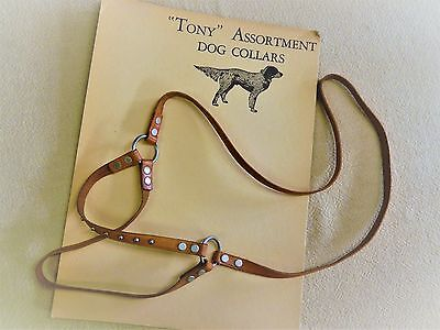 Vintage DOG COLLAR HARNESS Store Display ADVERTISING CARD Lawrence LEATHER Creel