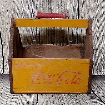 Wooden Coca Cola 6-Pack Carrier Old Orig Soda Pop Bottle Fountain Drink Country