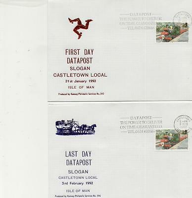 Isle of Man 1992 First & Last Day of Castletown Datapost Slogan Covers