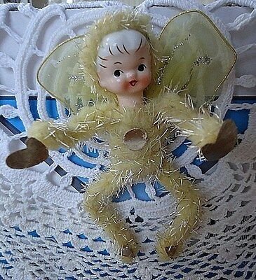 Vtg 1950's Xmas Porcelain Face Angel Feather Tree Ornament Wool w/ Cellophane