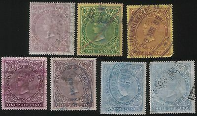 SOUTH AFRICA - CAPE OF GOOD HOPE - QV 7 G/FINE THE STAMP ACT REVENUES 1d to 3s