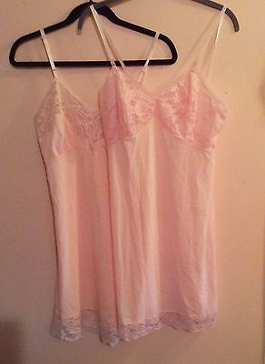2 Two 1950-60's Era ? Nylon Full Slip by Top Form Lace Bodice & Hemline Size 34