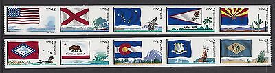 Usa 2008 Flags Of Our Nation Series 1 Set Of 10 Nh/um