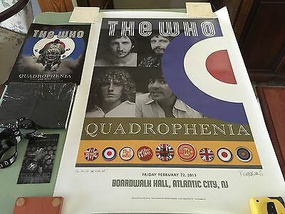 2013 The Who Quadrophenia Tour VIP Package RARE Atlantic City Signed Poster ++