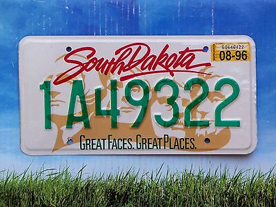 1996 South Dakota License Plate 1A49322 Exc Cond Natural Minnehaha County
