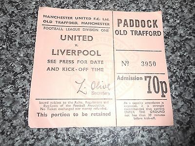 MATCH TICKET STUB : MANCHESTER UNITED  v  LIVERPOOL  EARLY 1970's **FREE POST**