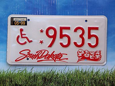 1999 South Dakota Handicapped License Plate 9535 Exc Cond Natural