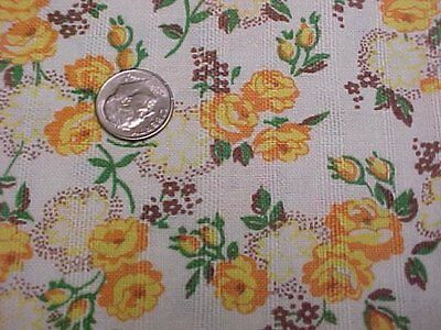 BEST Vintage Feedsack Quilt Fabric YELLOW Roses 40s Flour Sack Material WWII