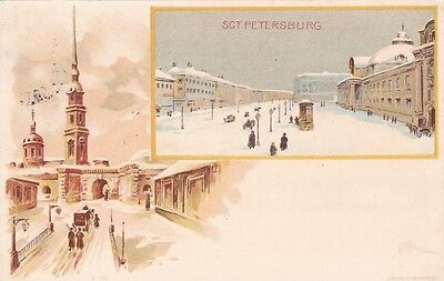 Saint Petersburg vintage lithography postcard 1901 used very good