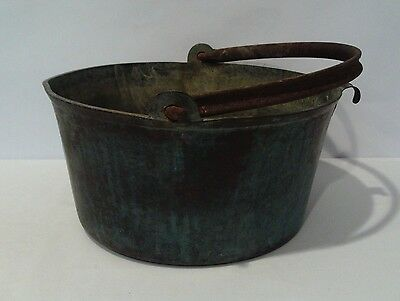 Vintage Large & Heavy Solid Brass Jam Preserve Pan With Cast Iron Handle
