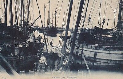 Singapore chines junk vintage postcard about 1910 made unused