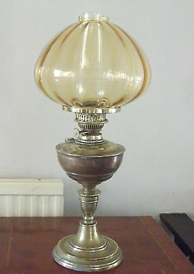Stunning Large Antique Brass Oil Lamp