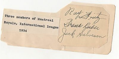 1934 Montreal Royals signed album page cut - 3 members w/ Jack Salveson