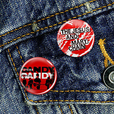 The Jesus and Mary Chain Pin Button Badge Set 2 x 25mm Badges or Individual