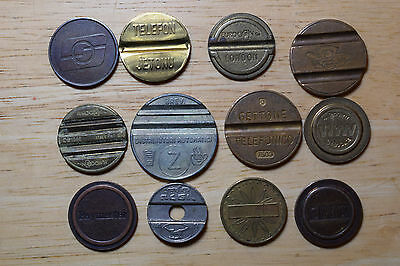 12 Telephone and transport Tokens Coins Gettone eurocoins Italy, UK, France etc.