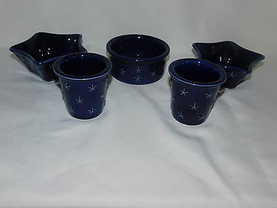 Longaberger Proudly American Pottery Votives, Star dishes & Bowl Lot 5 pieces